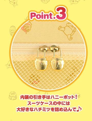 point3 内装の引き手はハニーポット! スーツケースの中には 大好きなハチミツを詰め込んで